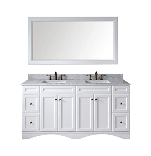 Virtu USA Talisa 72 inch Double Sink Bathroom Vanity Set in White w/Square Undermount Sink, Italian Carrara White Marble Countertop, No Faucet, 1 Mirror - ED-25072-WMSQ-WH