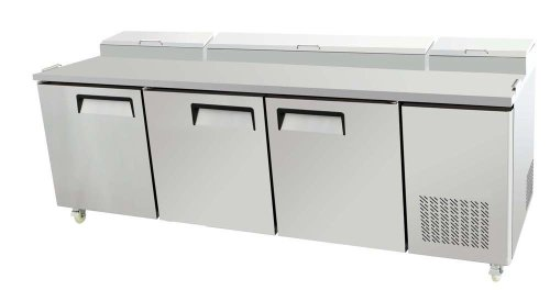 93'' 3 Door Commercial Refrigerated Pizza Salad Sandwich Prep Station Table, 26 Cubic Feet, for Restaurant by SDS