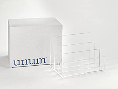 "Crystal Clear Acrylic Desktop File Sorter Holder - Lucite Mail, Paper, File Folder Organizer – Eyeshadow, Makeup Palette and Electronics Organizer - Thick Cast Acrylic - Unum - 9"" x 6.75"" x 6.5"""