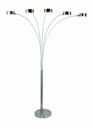 Artiva USA Micah - 5 Arc Brushed Steel Floor Lamp w/ Dimmer Switch, 360 Degree Rotatable Shades - Dim Options - Bright & Attractive - Solid Construction - Stainless Steel - Industrial & Mid-Century