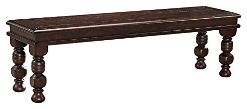 Ashley Furniture Signature Design – Gerlane Dining Room Bench – Solid Pine Wood Orna ...