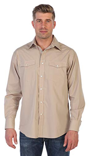 Gioberti Men's Solid Long Sleeve Western Shirt with