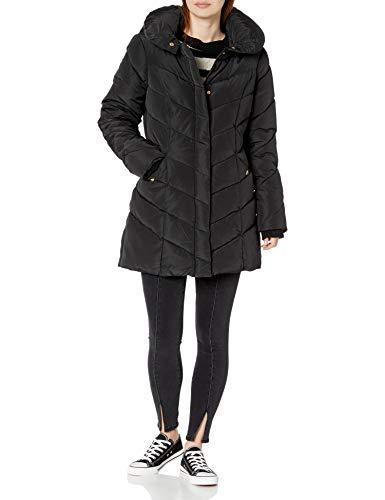 Steve Madden Women's Long Heavy Weight Puffer Jacket, Black, Large