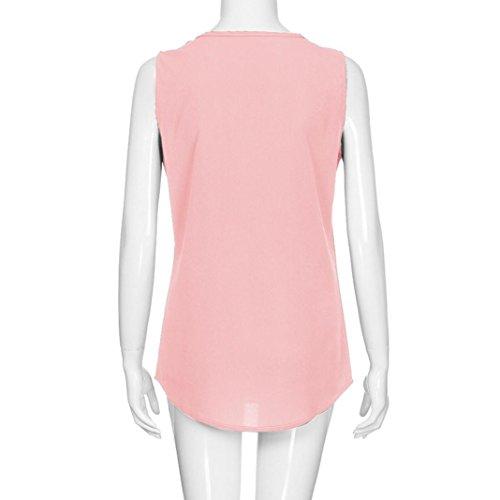 Senza Unita Maniche Rosa Camicia Rimovibile Sanfashion Bekleidung Bottoni Donna Tinta Con xwRxTqgB