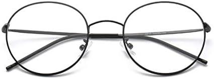 H54eru1z 丸メガネフレーム眼鏡クリアレンズは、ユニセックスファッションの女性が偽のメガネメガネメガネ 6awa23z (Color : Black)