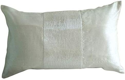 Designer White King Shams, Metallic Beaded Sparkly Glitter King Pillow Shams, 20×36 inch 50×90 cm Silk King Shams, Contemporary King Shams, Solid Color King Pillow – White Center