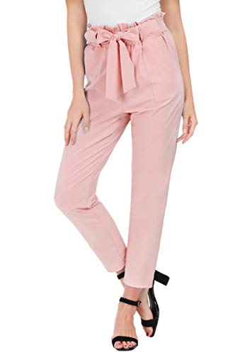 GRACE KARIN Women's Pants Trouser Slim Casual Cropped Paper Bag Waist Pants with Pockets (Medium, Light Pink) ()