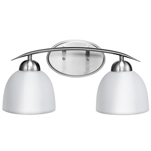 Tangkula 2-Light Bathroom Vanity Light Home Bedroom Wall Mounted Satin Nickel Finish Glass Shade Wall Sconce LampUL E26