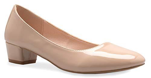 (OLIVIA K Women's Classic Closed Toe Low Heel Pumps | Dress - Comfortable)
