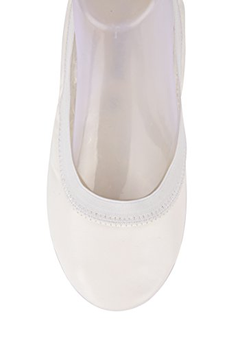 Picture of Fold up White Bridal Flats-White Foldable Ballet Flat Shoes,Purse Pack & Handy Tote Bag