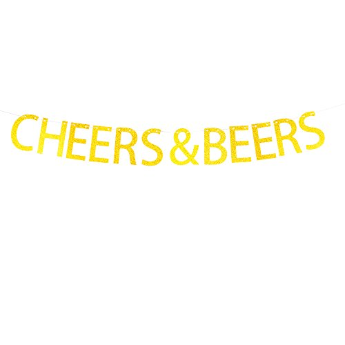 Cheers & Beers Banner Hanging Decor for Wedding,Bachelorette,Fiesta Party Décor Gold Banner Pertlife by Pertlife