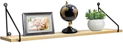 Sorbus Floating Shelf with Metal Brackets — Wall Mounted Rustic Wood Wall Storage, Decorative Hanging Display for Trophy, Photo Frames, Collectibles, and Much More (1-Tier – Maple)