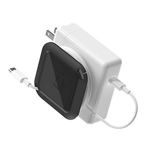 Fuse Reel The Side Kick Collapsible Charger Organizer and Travel Accessory Compatible with MacBook and PC charging cords and adapter cable management Black