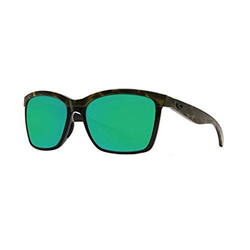 (Costa Del Mar Anaa Sunglasses Shiny Olive Tortoise on Black/Green Mirror 580Glass)