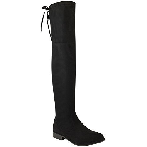Ladies Knee Boots Lace Up Block Over The High Size Slouch Suede Womens Faux Black Thigh Low Heel dqFAXdw
