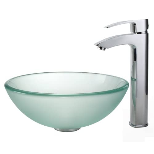 """Kraus C-GV-101FR-14-12mm-1810CH Frosted 14"""" Glass Vessel Sink and Visio Faucet Chrome 30%OFF"""