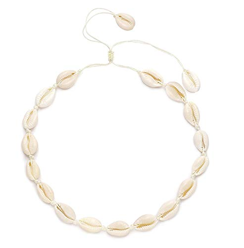 YINL Shell Choker Necklace -Natural Cowrie Shell Beads Handmade Hawaii Summer Beach Necklaces for Girls Ladies (Beige Rope)