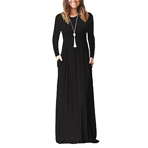 Plain Black Dress Pleated Dress JeanewPole1 Long Waisted Long Pockets Sleeve with High Womens Maxi wAqBgZq
