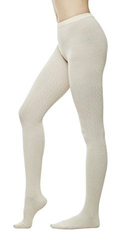Women's Winter Cotton Cable Knit Sweater Footed Tights (S/M, Ivory) (Cable Womens Tights)