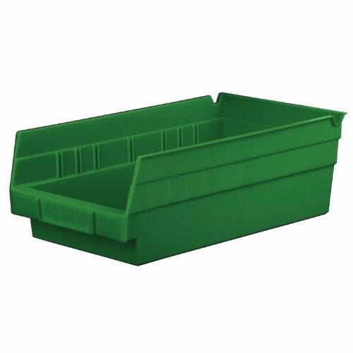 Akro-Mils 30130 RECYHG 12-Inch by 6-Inch by 4-Inch Plastic Nesting Shelf Bin, Hunter Green, 12-Case Akro Green