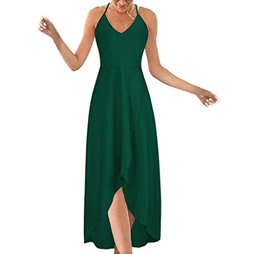 Fshinging Women Irregular Sling Dress Sexy Cross Strappy Off Shoulder Backless Solid Color Long Dress(Green,XXL)
