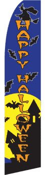 NEOPlex Happy Halloween with Witch and Bats Graphics Swooper Flag]()