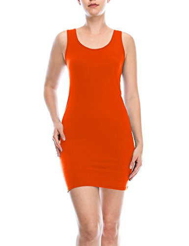 Womens Orange Tank Dress (AIMA Women's Classic Extra Long Ultra Stretch Opaque Tunic Tank Top Orange XXX-Large)