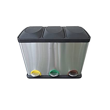 3 Compartments Charles Bentley Home 45L Stainless Steel Kitchen Recycle Waste Pedal Bin