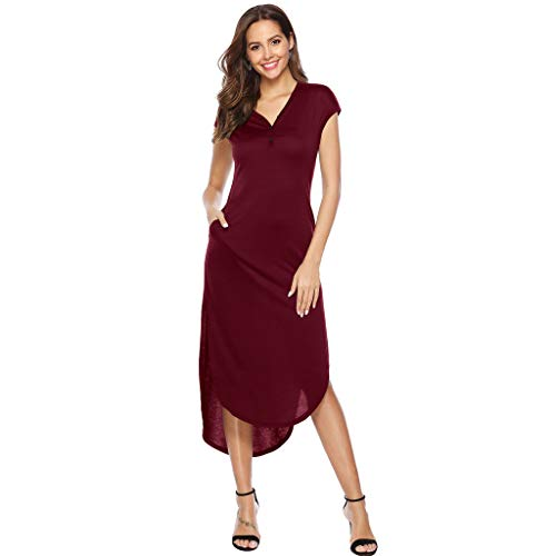 (Clothful Woman Dress, Women Casual V-Neckline Solid Boho Dress Flounce Dress Short Sleeve Pocket Dress Red)