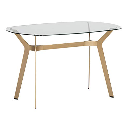 Studio Designs Home 71013 Archtech Modern Glass Desk Dining Table, 48 , Gold Clear Glass
