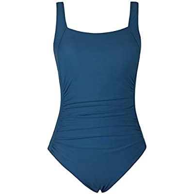 Firpearl Women's Black One Piece Bathing Suit Ruched Tummy Control Swimsuit at Women's Clothing store