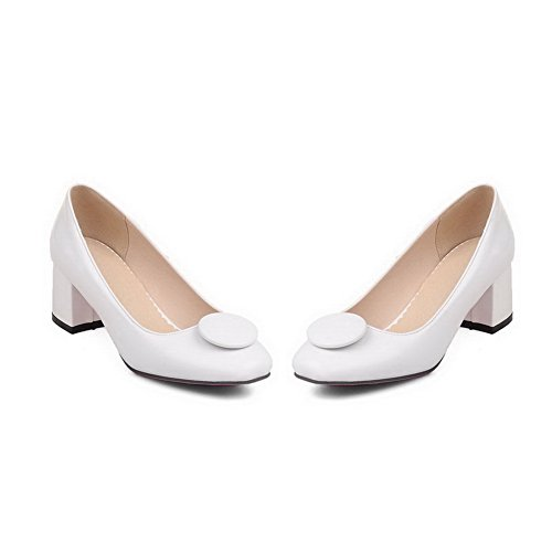 BalaMasa Womens Square-Toe Chunky Heels Low-Cut Uppers Patent-Leather Pumps-Shoes White 7fqaFoN3
