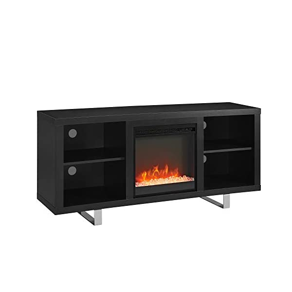 """Walker Edison Modern Wood and Metal Fireplace Stand for TV's up to 64"""" Flat Screen Living Room Storage Shelves Entertainment Center, Black (AZ58FP18SMSB)"""