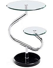 "Dagelijkse Uitrusting Moderne Glazen Sofa Bijzettafel Marmeren Salontafel Slaapkamer Metalen Frame Nachtkastje 15.7""& times; 25.1"""