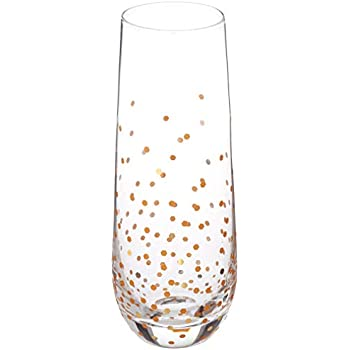 e8226e8ee9b Circleware 77091 Confetti Gold Stemless Champagne Flutes Set of 4 Party  Dining Beverage Drinking Wine Glasses