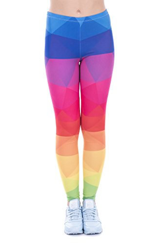 PINK PLOT Basic Printed Leggings Patterned High Elasticity Pants for Women Girls One Size-Fit XS-L Triangles Rainbow M -