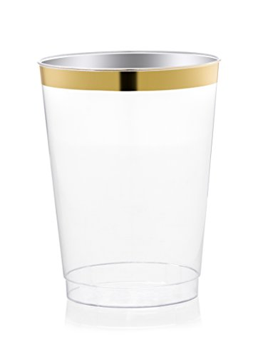 DRINKET Gold Plastic Cups 10 oz Clear Plastic Cups / Tumblers Fancy Plastic Wedding Cups With Gold Rim 50 Ct Disposable For Party Holiday and Occasions SUPER VALUE - With Glasses Rim Gold