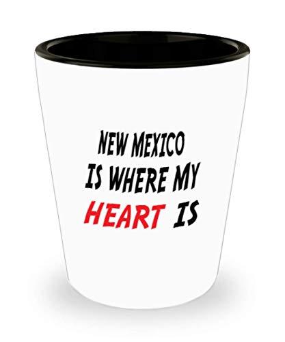 - White Ceramic Shot Glass Mug Custom New Mexico Mug Going Away Gift State Mugs Moving Away State Gift Somebody My Heart Is,al0728