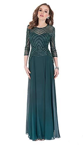 (Terani Couture 3/4 Sleeve Beaded Top Long Dress (Hunter Green, 14))