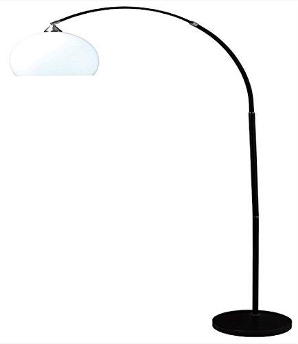 Ore International 6937BK Modern Black Arc Floor Lamp on Black Marble Base, 76-Inch Height Black Marble Floor Lamp