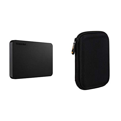 Toshiba HDTB420XK3AA Canvio Basics 2TB Portable External Hard Drive USB 3.0, Black & AmazonBasics External Hard Drive Portable Carrying Case (Toshiba External 2tb Hard Drive)