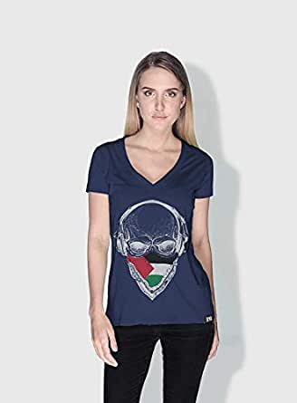 Creo Palestine Skull T-Shirts For Women - L, Blue