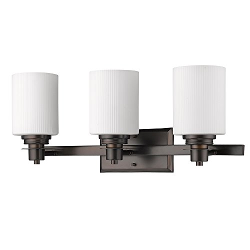 (Acclaim Lighting IN41357ORB Amelia Indoor 3-Light Bathroom Sconce with Glass Shades, Oil Rubbed Bronze)