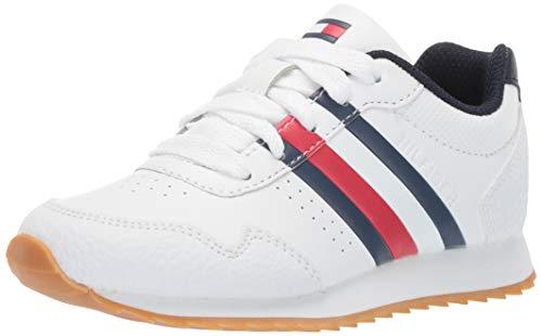 Tommy Hilfiger Unisex Kids' Julian Sneaker White/Navy/Red 2 Child US Little