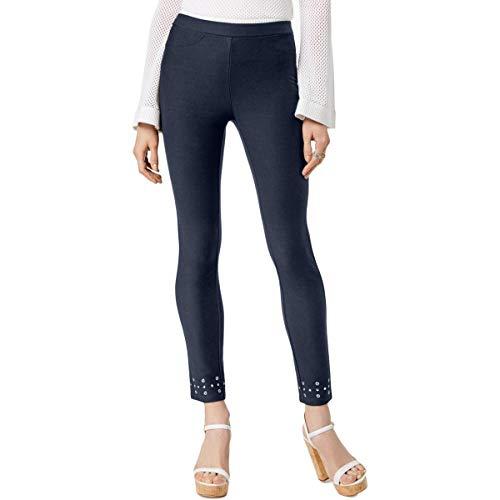 (MICHAEL Michael Kors Womens Petites Embellished Pull On Leggings Navy PM)