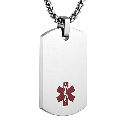 - HZMAN Black Stainless Steel Medical Alert Dog Tag Pendant Necklace (Silver)