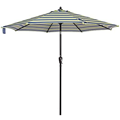 Sundale Outdoor 9 ft FadeSafe Olefin Fabric Patio Market Table Umbrella with Crank and Auto Tilt for Garden, Deck, Backyard, Pool, Solution Dyed and UV Resistant (Blue and Green Stripe) - ★ Convenient crank opens/closes system and auto tilt, even easy to use for kids and the elderly. Keep the sun at the back. ★ 1.5in diameter rust-free bronze aluminum pole and 8 aluminum ribs provide stronger support than standard round poles. Air vented top enhances umbrella stability. ★ 100% Olefin Fabric Canopy gives efficient protection with 2-year warranty: sun-proof, UV blocking, water-repellent and anti-fade capability. Enjoy warm weather without getting burned. - shades-parasols, patio-furniture, patio - 31bPNi0KuCL. SS400  -