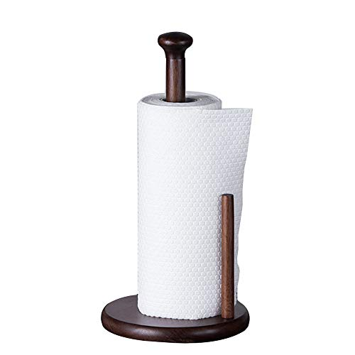 JASONN Paper Towel Holder, Kitchen Paper Hanger Rack Bathroom Towel Roll Stand Organizer Simply Standing Countertop Wooden Paper Roll Holder for Cabinet, Table,Brown
