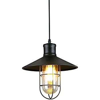 Pendant lights baycheer hl371419 industrial vintage style glass industrial pendant light ivalue vintage barn pendant light with cage lamp shade e26 metal black hanging mozeypictures Images