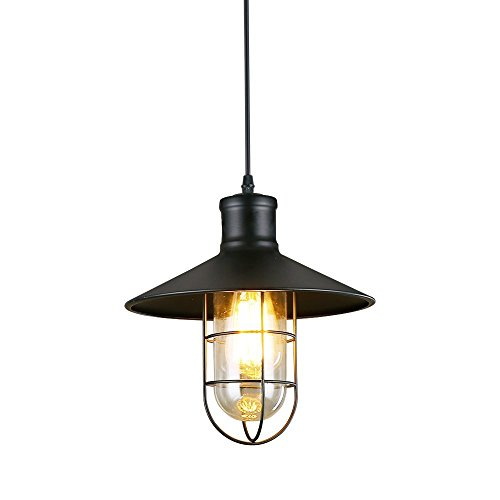 Industrial Pendant Light Ivalue Vintage Barn Pendant Light Fixture with Cage Lamp Shade E26 Metal Black Hanging Lighting for Kitchen Hallway Dining Room (Black)